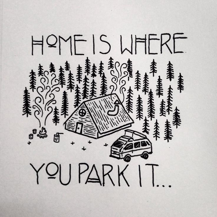 Such a great phrase. By davispower10 @ instagram. #drawing #doodle #design #art #penandink #micron #graphicdesign #homeiswhereyouparkit #vanlife #vanlifediaries #cabin #camping #campvibes #campfire #vw #westy #westfalia #adventure #adventuremobile #sketch #sketchbook #woodsmen #trees #typography #typeface #pnw #upperleftusa #oregon
