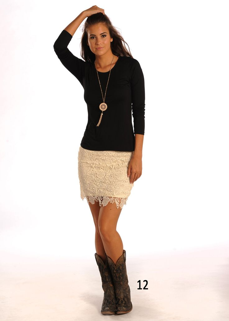 This awesome new skirt from Rock & Roll Cowgirl is a must have for every wardrobe! It is lightweight and comfortable. Made of 100% Polyester. Made with a lace pattern and scallop hem, this skirt not o