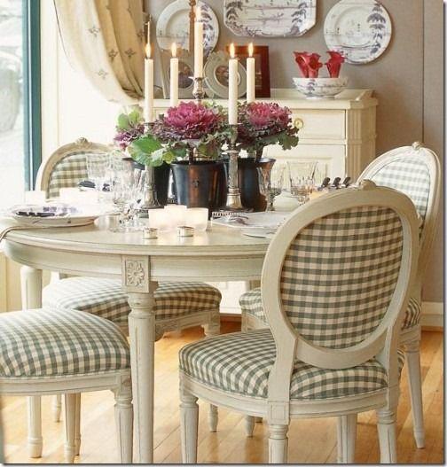 Soft Green and white Checks on Louis XVI chairs....at Cote De Texas...