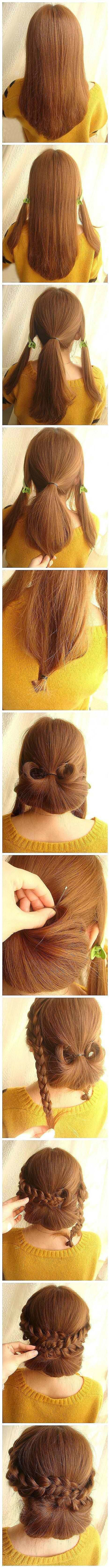 Easy Quick bun with braids circling it