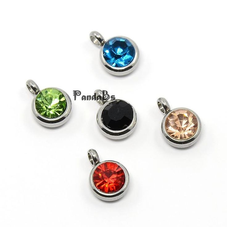 Trendy Original Color 304 Stainless Steel Grade A Rhinestone Flat Round Charm Pendants, Faceted, Mixed Color, 9x6.5x4mm, Hole: