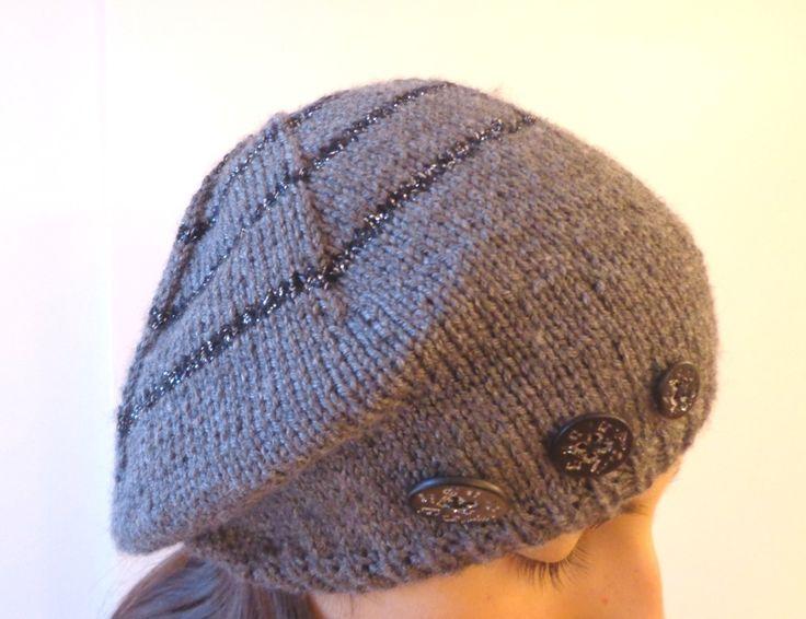 """Bonnet gris slouch béret """"Allegro"""", tricoté main mélange laine fibre de bambou, bouton musique, notes, clé de sol : Chapeau, bonnet par reve-de-fille"""