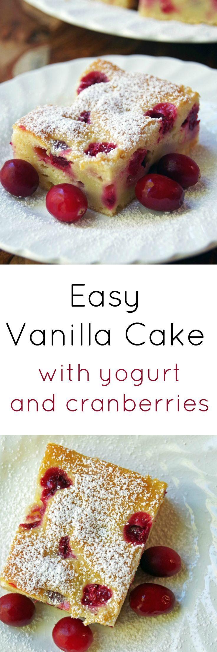 Easy Vanilla Cake Recipe with Greek Yogurt and Cranberries 9x13 with Vanilla Cake Mix & fresh Berries.