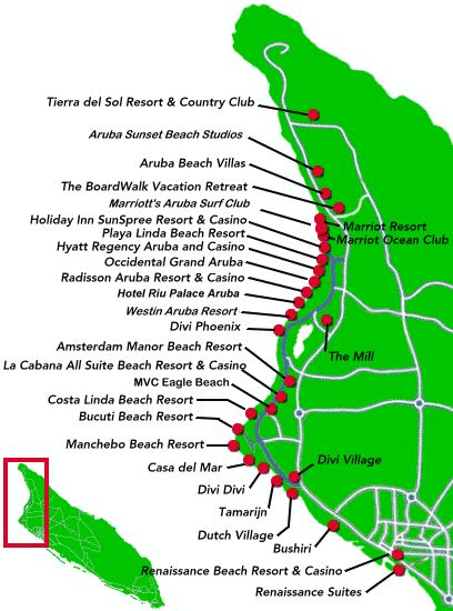 Map of some resorts on Aruba.  To check availability, rates, and for reservation assistance, please contact me at Elizabeth@northstartravel.ca