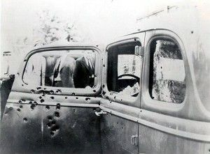 Riddled with Over 100 BULLET HOLES the car of BONNIE & CLYDE the Police chased down on May 23, 1934
