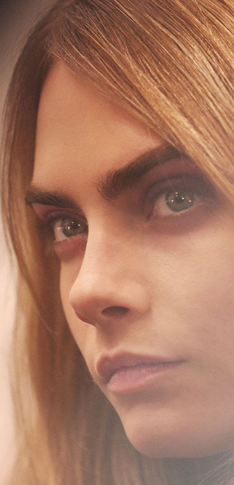 A wash of colour - the new Burberry A/W14 make-up look, as worn by British model Cara Delevingne