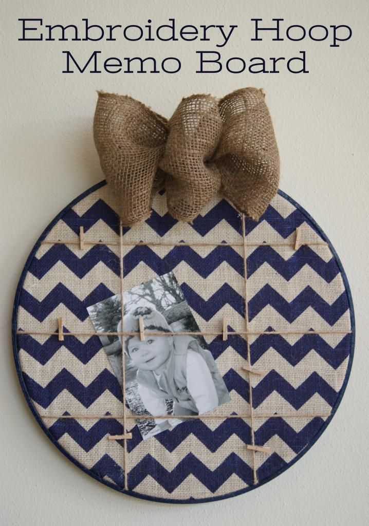 Embroidery Hoop Memo Board - This Silly Girl's Life. This is so cute - would also be a cute pinterest party idea