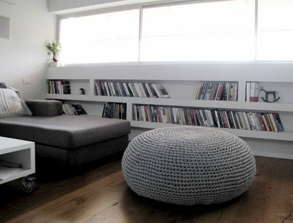 Giant Ottoman Round Pouf Giant Bean Bag Chair Floor Pouf Large Grey Floor  Pillow Knit Pouf Floor Chair Large Floor Cushion Crochet Pouf