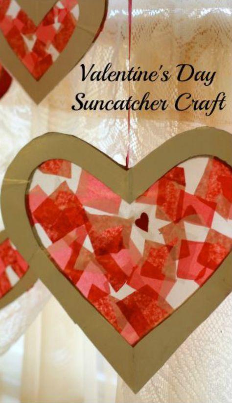 Valentine's Day Suncatcher Craft. Valentine Crafts for children