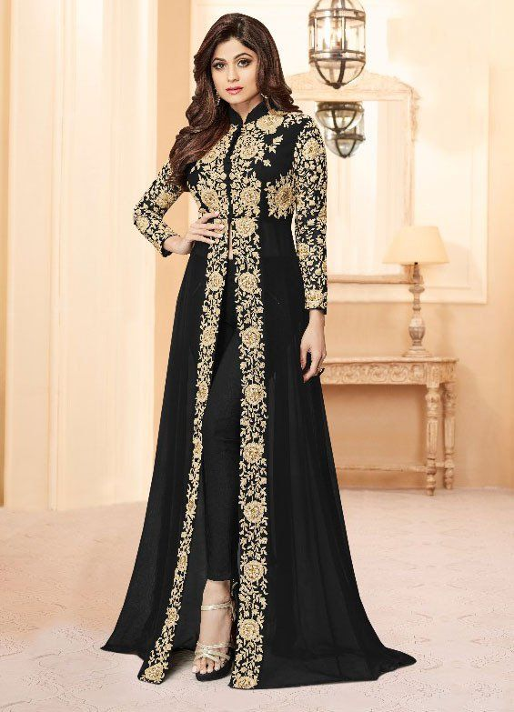 Shamita Shetty Black Pant Kameez Clothes For Women Indian Dresses Pakistani Dresses