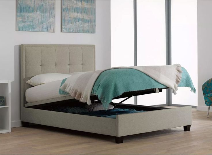 Evert Oatmeal Fabric Upholstered Ottoman Bed Frame