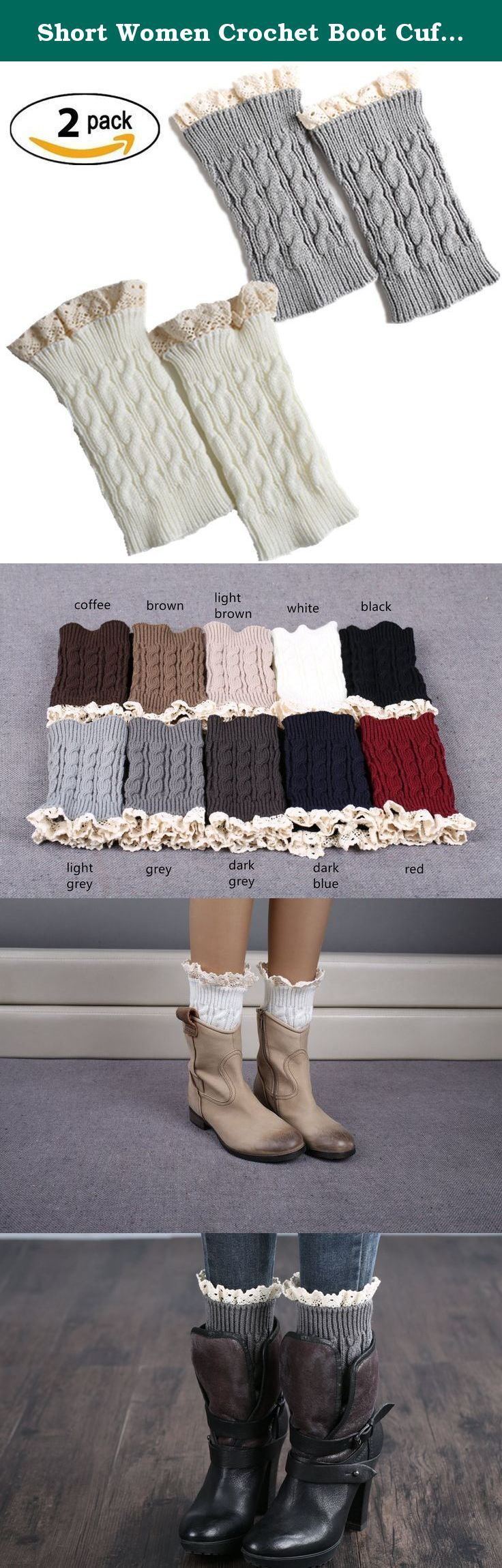 Short Women Crochet Boot Cuffs Winter Cable Knit Leg Warmers. In cold winter, it means shivering in low temperatures and freezing cold! The Leg warmers and boot socks end up feeling so bulky and leaving your feet and ankles overheated when you go indoors, and crew socks don't reach high enough to keep your legs warm. Boot Cuffs are cute cropped leg warmers that slip down into the tops of your boots. Once in place, the boot cuffs topper pair keeps your legs warmer and adds a stylish…