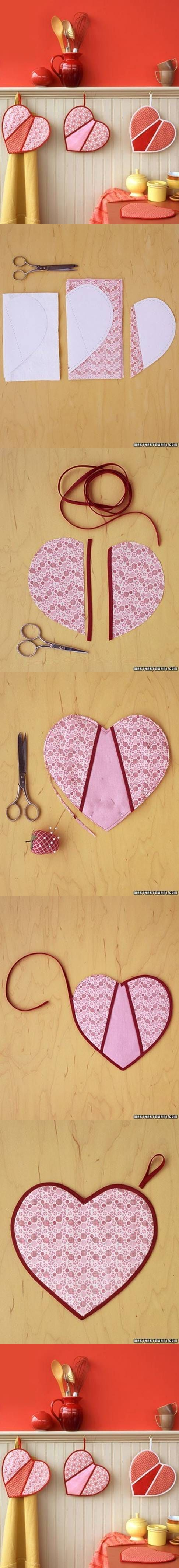 DIY Heart Shaped Pot Holders  <3