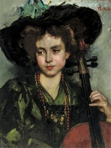 It's About Time: Portraits by Dutch artist Thérèse Schwartze (Amsterdam artist, 1852-1918) The Cellist.