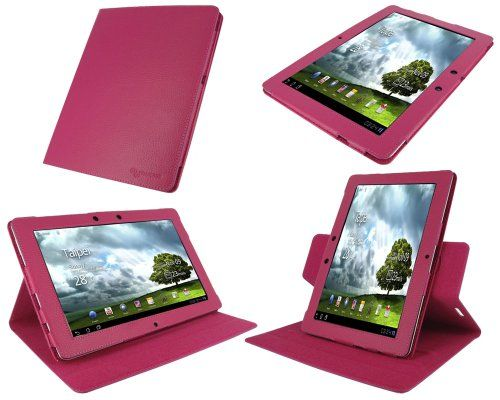 rooCASE Dual-View Multi Angle (Magenta) Leather Folio Case Cover for Asus Eee Pad Transformer PRIME 10.1-Inch TF201 Tablet Dual-View Multi Angle Leather Cover for Asus Eee Pad Transformer 2 PRIME TF201 (Asus Tranformer PRIME NOT Included). Genuine Leather with Micro Suede Interior. (NOT Comptible with Transformer TF101 and TF300) - Please See Product Image for Difference Between Prime TF201 vs TF1... #RooCASE #PersonalComputer