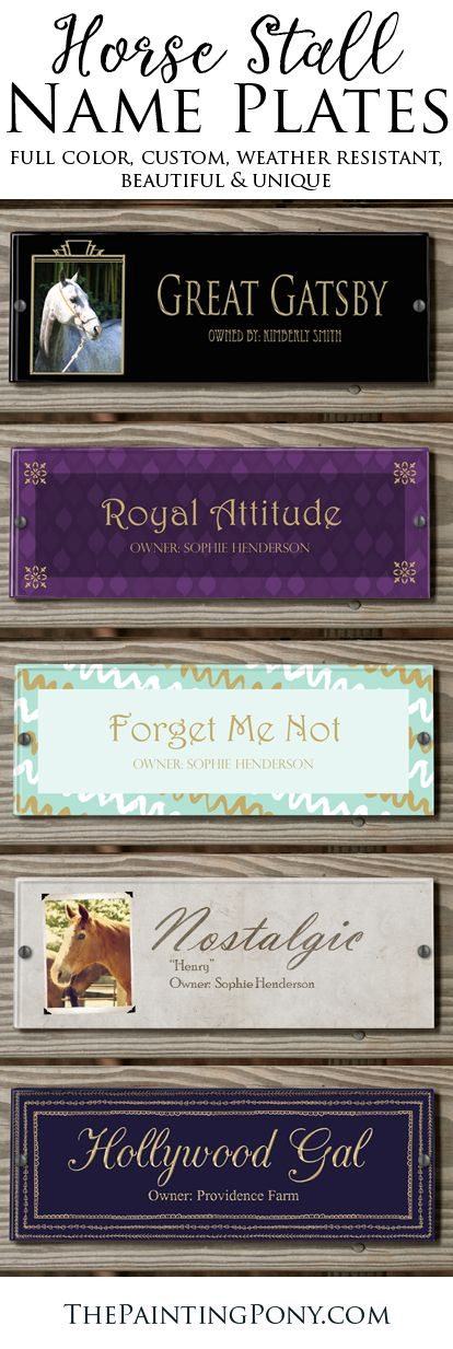 CUSTOM horse stall NAME PLATES - equestrian style for the barn, stable, and farm! Beautiful and colorful personalized horse stall plaques for your horse's show name and barn name and owner information AND your own photo too! Get customized colors at not extra cost. great gift for the new horse owner who loves their horse or pony. Can also be mounted on anything wood so you can take them to horse shows and events too. 100% made in the USA!