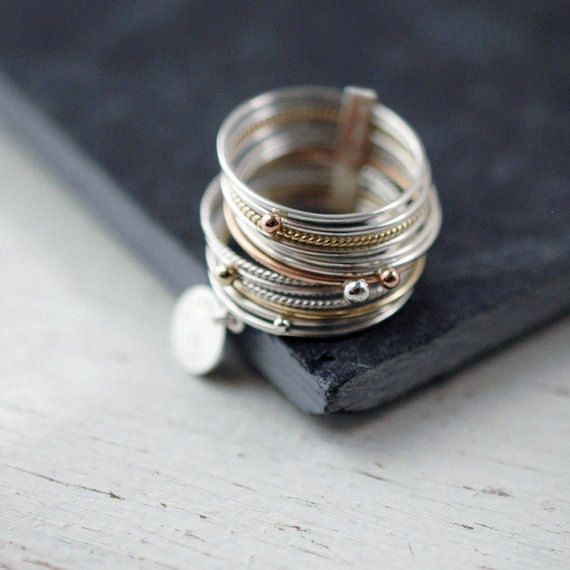Galactical 14 stacking ring with 14kt yellow rose gold and silver rings