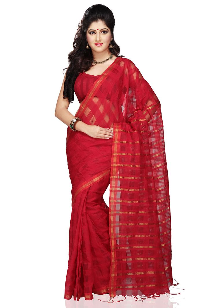 Red Cotton Silk Handloom Saree with Blouse: SZX29