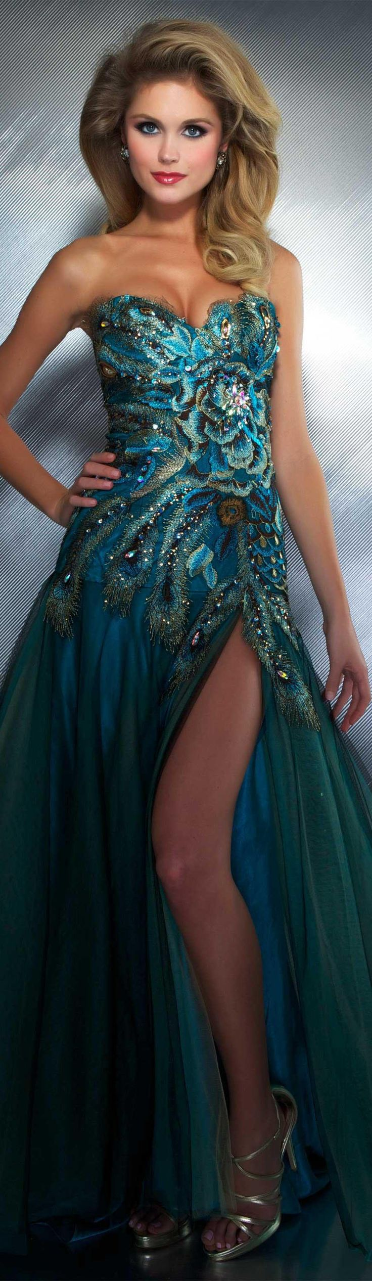 Mac Duggal couture dress peacock Style outfit clothing women @roressclothes apparel fashion amazing blue evening
