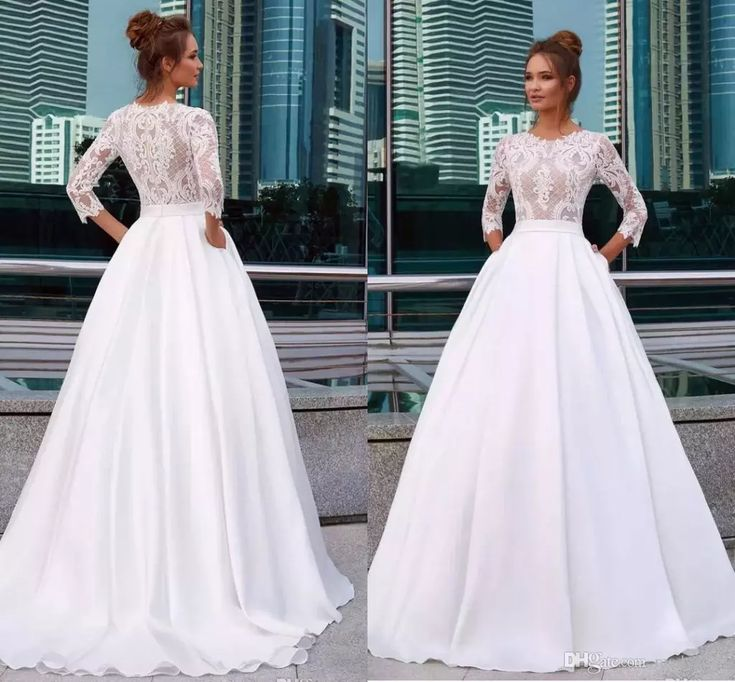 Elegant White Princess Wedding Dresses Jewel Neck 3/4 Sleeve Lace Appliques Country Bridal Gowns Pocket Satin Vestido De Novia