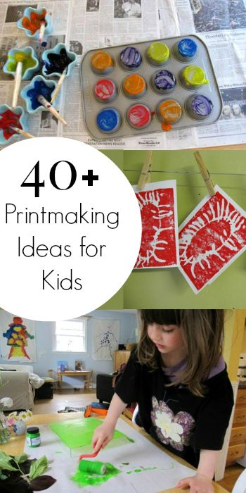 40+ Printmaking Ideas for Kids - Printmaking allows kids to try out different art techniques and to see cause and effect in action more dramatically than with simply painting or drawing. So many great ideas for kids here!