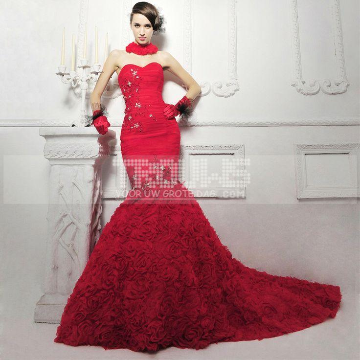 http://fr.trouws.com/robe-de-mari%C3%A9e-c1 elegantes roses de soutien-gorge de queue de poisson rouge le modelage du corps de fuite robe de mariee - €161.13 , Trouws.com