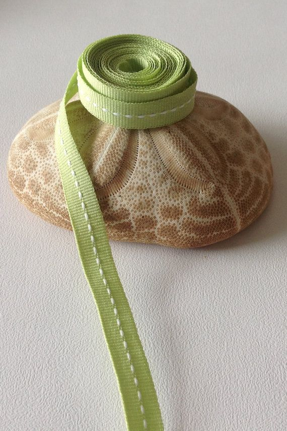 """1.5 Yards of 3/8"""" Grosgrain Ribbon,Pastel Green with Raised White Stitch Pattern $1.50"""