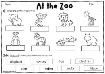 at the zoo vocabulary pack zoos word work and autism resources. Black Bedroom Furniture Sets. Home Design Ideas