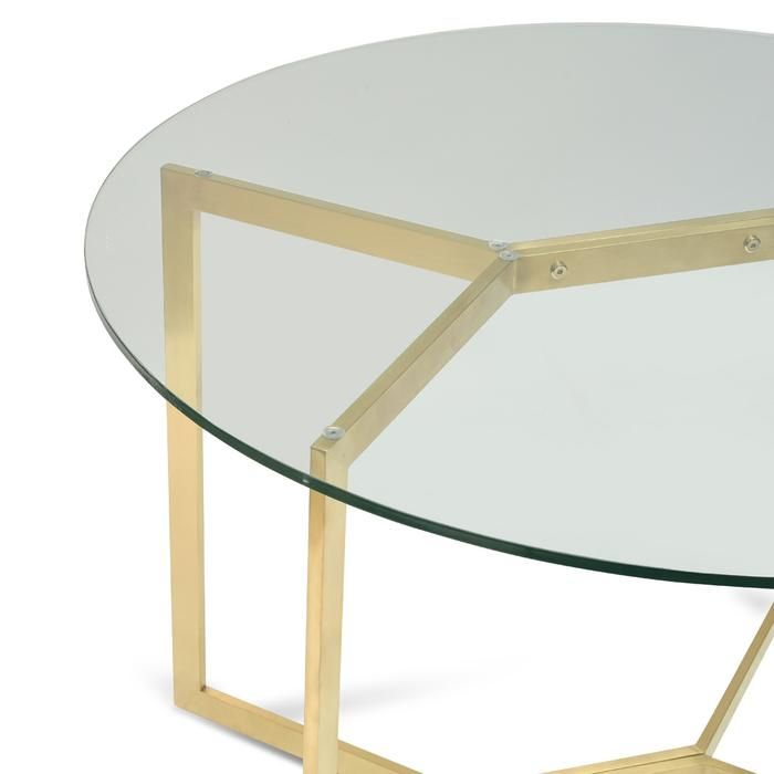 Cannon 1 1m Round Glass Dining Table Gold Base Glass Round