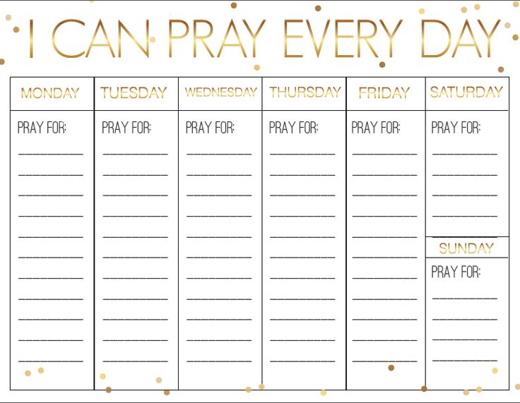 Prayer Calendar for Kids