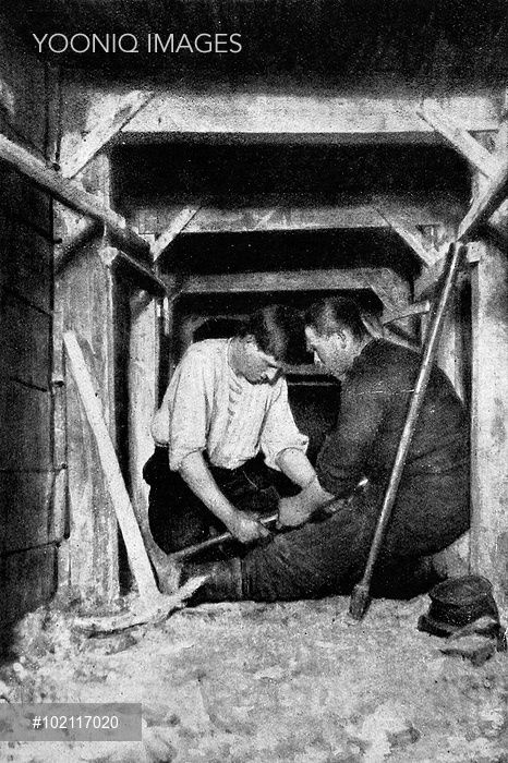 Men working a mine-drill in a gallery, making a bore-hole for a 'camoflaut' or secondary chamber, intended to cause the enemy work to fall in. Underground mines became a major feature of warfare during World War I with miners and tunnel-workers recruited from Britain and France to work as 'sappers' in the tunnels. © Mary  Evans Picture Library.