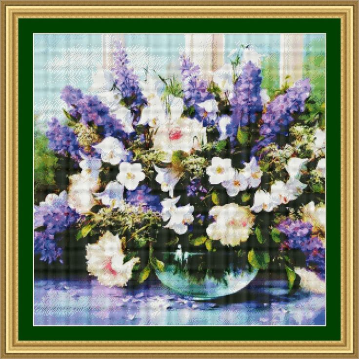 ==> [Free Shipping] Buy Best 5th 59-59 purple and white flowers Counted Cross Stitch Cartoon Cross Stitch 14CT Cross-Stitch Kit Handmade Embroidery Online with LOWEST Price | 32801439856