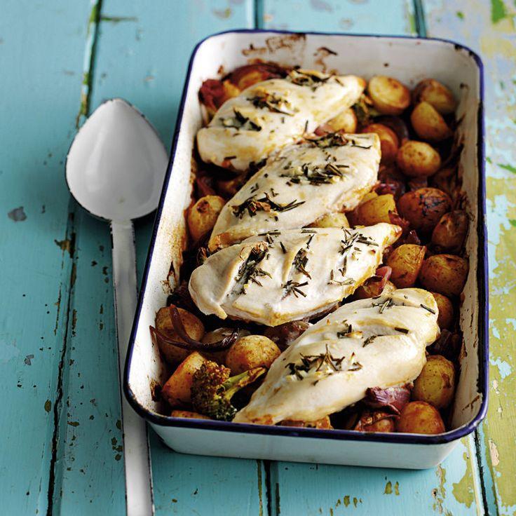 Hähnchenbrustfilets auf gerösteten Kartoffeln und Broccoli Rezept | Weight Watchers