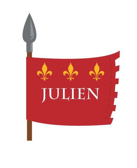 Stickers à personnaliser au prénom de votre enfant ! Ce sticker drapeau de chevalier est idéal pour décorer les portes de chambre. • 2 formats vous sont proposés