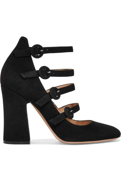 Heel measures approximately 100mm/ 4 inches Black suede  Buckle-fastening straps  Made in Italy