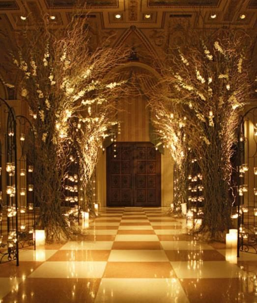 into the woods decor | Enchanted Forest Wedding Theme Party and Reception Centerpieces