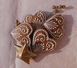 Dekorácie - Medovníček srdiečko na stromček, biele - 3267366