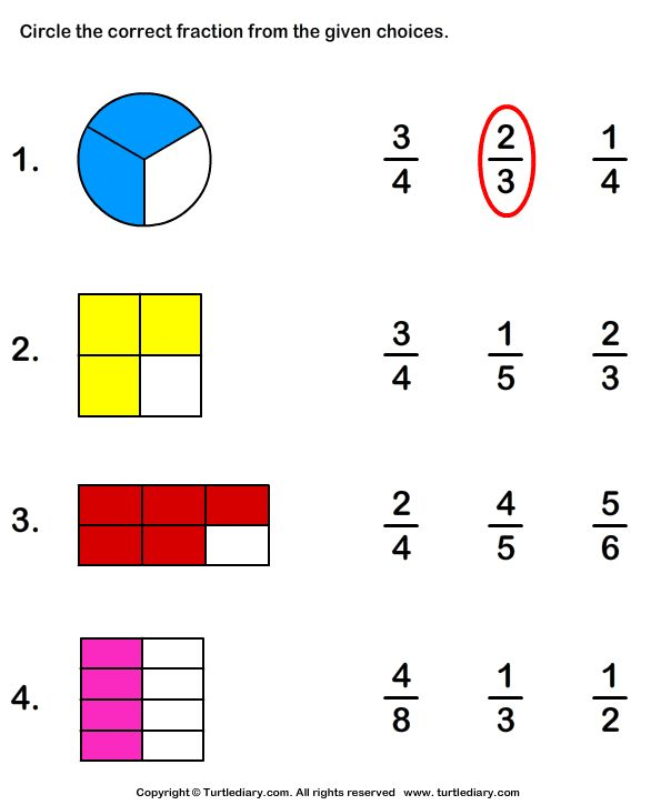 Download and print Turtle Diary's Circle Fraction Representing Shaded Portion worksheet. Our large collection of math worksheets are a great study tool for all ages.