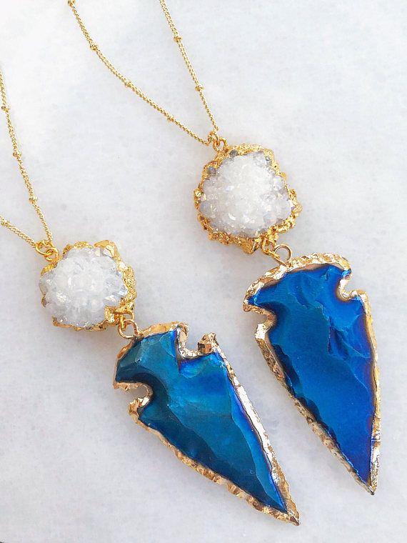 Agate Jasper Stone Arrowhead for Wire wrapping electroplating BOHO jewelery