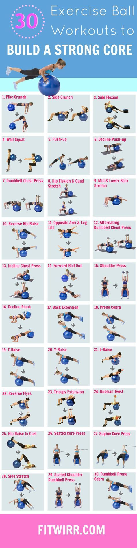 30 Stability Ball Exercises. Swiss balls are a great addition to standard workouts because they are highly effective at targeting core muscles. Core muscles are very important and are necessary for proper posture, but are often overlooked and underutilize