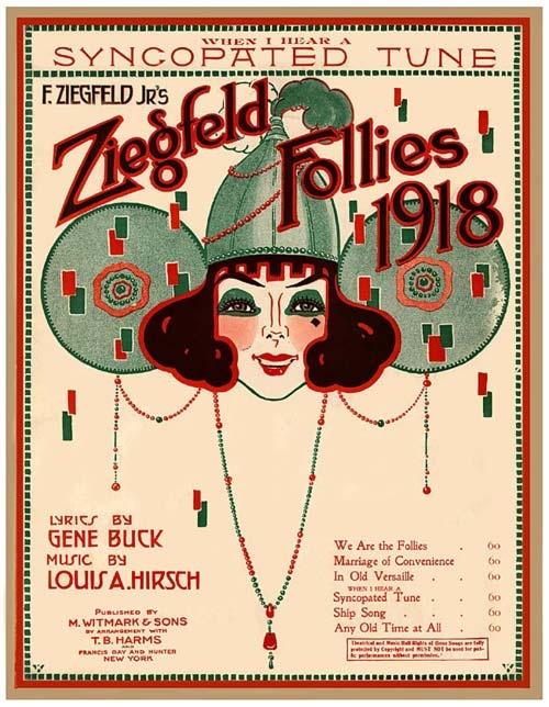 Vintage Song Poster - Syncopated Tune - 1918: Follies Poster, Art, Illustration, 1918, Sheet Music, Ziegfeld Girls, Vintage Sheet