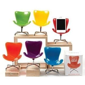 Retro Chair Cell Phone Stand This Retro style chair cellphone holder can sit just about anywhere adding interest and style. Great gift idea for college bound students and just about any age group.