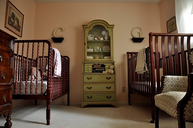 Nursery for twins, so pretty! I actually like that the cribs don't match. and the natural colors