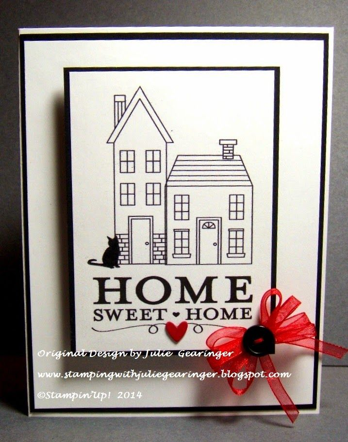 Stamping with Julie Gearinger: CAS Home Sweet Home (with a cat :-)) Stampin' Up! card created with Holiday Home, Home Sweet Home and Patterned Pets (My Digital Studio hybrid) for the CASology 118 Home Challenge and FMS159 Sketch :-)