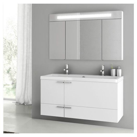 Contemporary Art Sites ACF by Nameeks ACF New Space Double Bathroom Vanity Set Glossy White Let your unique style shine through with the ACF by Nameeks ACF New Space Double