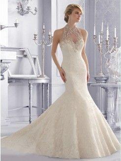 Trumpet/Mermaid High Neck Chapel Train Organza Bridal Dress With Applique Beading