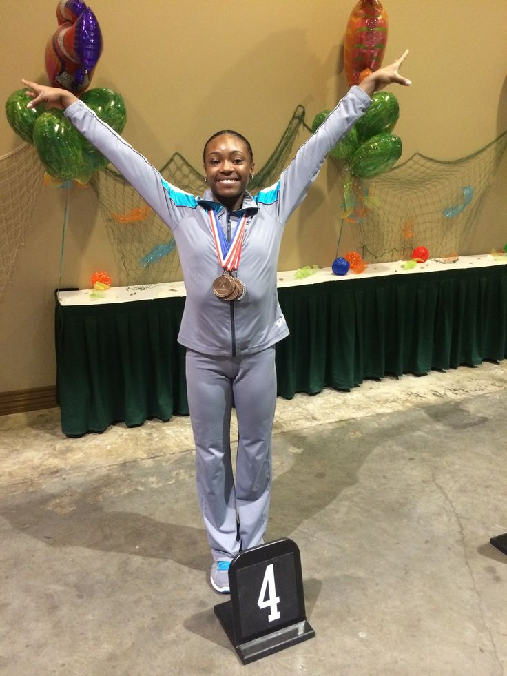 Aim High Academy's Kiona - so proud of her for placing 4th All Around at Region 3 USAG Gymnastics Championships in Galveston, Texas, April 25, 2014.