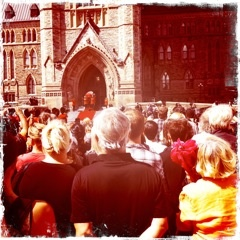 People gathered at Parliament Hill.