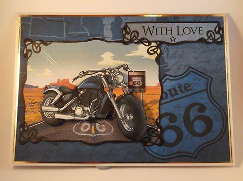 Men's Birthday Card Motorbike/ Route 66 by Wildthymecrafting, £2.00