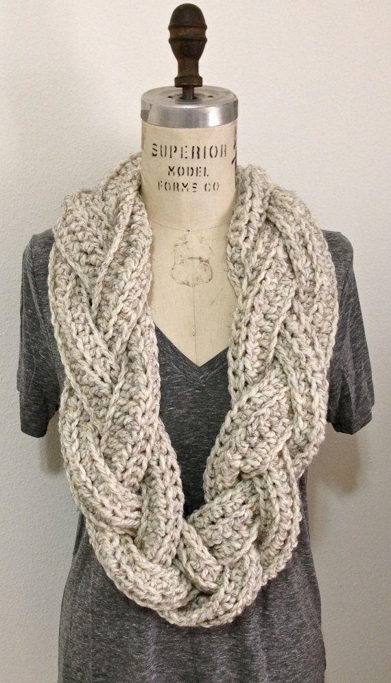 Chunky gevlochten Infinity sjaal van TwoRedFox op Etsy